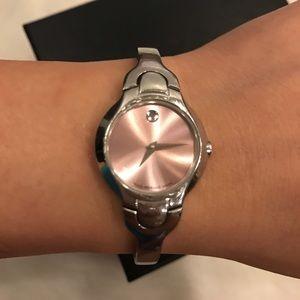 Women Movado pink dial bangle watch